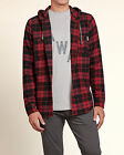 Hollister by Abercrombie Men's NWT Red Plaid Hooded Hoodie Flannel Shirt XL