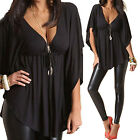 CHIC Women's Loose Irregular Tops V-neck Short Sleeve T Shirt Blouse Fashion
