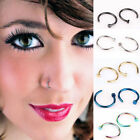 5pcs Stainless Steel Nose Open Hoop Ring Earring Body Piercing Studs Jewelry
