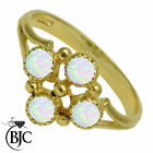 BJC® 9ct Yellow Gold Natural Opal 4 Stone size N Cluster Style dress ring R191