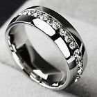 Size 7-11 Titanium Ring Crystal Men/Women Wedding Stainless Steel Engagement New