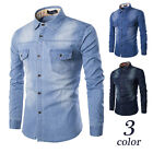 Fashion Mens Jeans Tops Casual Slim Fit Stylish Wash-Vintage Denim Shirts 3color