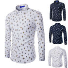 Stylish Men's Fashion Tee Casual Tops Dress Slim Fit  Printed Long Sleeve Shirt