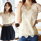 Fashion Womens Sexy Ladies  Floral Lace Loose Tops Casual T-Shirt Blouse Shirts