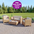Light Brown Roma Rattan Weave Garden Furniture Sofa Set + FREE PROTECTIVE COVER