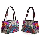 Women's Floral Embroidery Handbag Canvas Purse Ethnic Tote Bags Beaded Satchel
