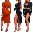 Sexy Ladies Long Sleeve Hollow Breast Tops Slit Skirt Dress Clubwear 2PC Set