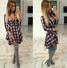 Casual Women Shirt Dress grid Printed Long Sleeve Mini Vestidos Dresses