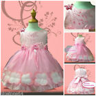 Girl Children Pinks Baptism Chirstening Flower Girls Dresses SIZE 1-2-3-4-5-6T