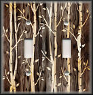 Light Switch Plate Cover - Rustic Cabin Home Decor - Wood Image Trees Forest