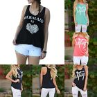 "Women Summer ""wifey"" Printed Tank Top Casual Blouse Shirt Sleeveless Crew Neck"