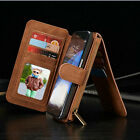 Vintage Leather Flip Wallet Zip Magnetic Case Cover for Samsung Note 5 7 S7 edge