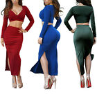 Women Sexy Club Evening Deep V Long Sleeve Crop Top Slit Dress Bodycon Suit Set