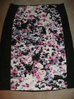 """Attention Polyester Black Floral print Skirt Womans *L XL* Lilac Rose 25"""" Long"""