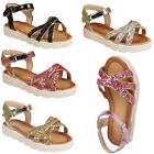 GIRLS FLAT GLITTERY GLADIATOR SANDALS KIDS OPEN TOE  ANKLE STRAPPY SUMMER SHOES