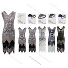 1920s Flapper Dress Gatsby Charleston Sequin Beads Fringed Dress 20s Dresses up