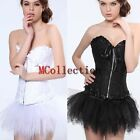Burlesque Zip Lace Corset & tutu /skirt Fancy dress outfit Halloween Costume