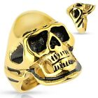 Stainless Steel Gold and Black Skull Biker Ring Size 9-14