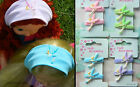 TINKERBELL FABRIC PONYTAIL HOLDERS HAIR BANDS - PAIR OR SET OF 8