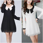 Cute Sweet Womens Long Sleeve Casual Lace Mini Dress Cocktail Party Tunic Dress