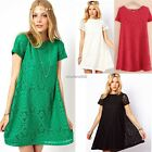 Women's Short Sleeve Cocktail Hollow Out Sexy Casual Floral Lace Party Dress