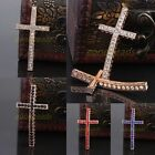 Crystal Rhinestone Rose Gold Cross Crucifix Connector Link For Bracelet Making