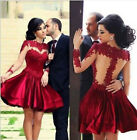 RED SHEER LACE PROM DRESS BRIDESMAID HOMECOMING COCKTAIL DRESSES PARTY BALL GOWN