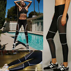 Women Yoga Mesh Workout Gym Leggings Fitness Sports Stretch Trouser Pants CA