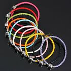 Fashion Lots Mix Color PU Leather Woven Cuff Bracelet Bangle Fit European Beads