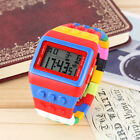 Shhors Construction Men's Boy Date Stopwatch LED Brick Block Digital Sport Watch
