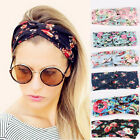 Ladies Flower Elastic Twisted Turban Hair Band Knotted Headband Yoga Head Wrap