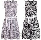 Girls Kids Summer Party Sleeveless Lacy Tie Belt Floral Dress 3 - 13 Years