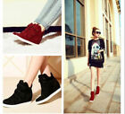 Stylish Ladies Athletic Sneakers Hidden Wedge Heels High Top Casual Shoes