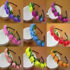 Women Girls Boho Rose Flower Headband Crown Festival Wedding Garland Hair Band