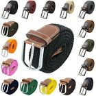 Men Women Plain Stretch Elastic Woven Braided Pin Buckle Belt Waist Belts Casual
