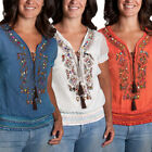 Just Funky Beaded Embroidered Bohemian Peasant Blouse Top Short-Sleeved Shirt