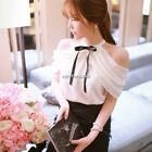 Summer Casual Women Chiffon Sleeveless Off Shoulder Tops Blouse Shirt Tee N4U8
