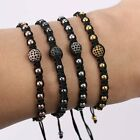 New Women Mens 18K Braided Macrame Leather Anil Bracelet Bangle Beads Black Gift