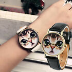 Women Girls Watch Cat Pattern Leather Band Analog Quartz Wrist Watch Cute GIFT