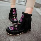 Womens Faux Suede Tassels Fringe Hidden Heel Round Toe Flats Ankle Boots Shoes