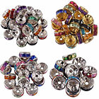 50/100pcs Silver Plated Rondelle Crystal Rhinestone AB Beads Spacer 6mm Findings