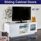 Modern TV Unit Cabinet White Black Grey Television Stand Sliding Door 120cm