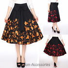 RK106 1950s Floral Flower Circle Swing Dance Skirt Rockabilly Pin Up Retro Rock