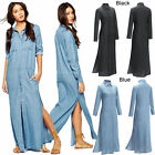 Womens Long Sleeve Casual Denim Split Dress Vintage Eving Party Maxi Shirt Dress