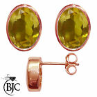 BJC® 9ct Rose Gold Natural Citrine Oval Stud Earrings 3.00ct Studs Brand New