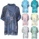 Ladies Womens Italian 2 Piece Solid Double Layered Sequin Hem Floral Big Tunic