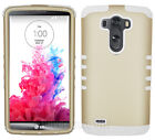 For LG Optimus G3 - Impact Hybrid 2 in 1 Hard Soft Cover Case Gold with White