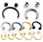 2/10pc Steel Horseshoe Bar Lip Nose Septum Captive Ring Piercing 6/8/10/12/14mm
