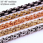 """16~40"""" 4/5/8mm Charming Stainless Steel Byzantine Box Chain Mens Women Necklace"""