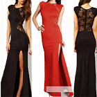 Womens Lace Slim Gown Cocktail Evening Party Slit Long Sleeveless Maxi Dress